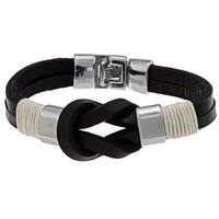 Nexte Jewelry Silvertone Black Leather Knot Bracelet