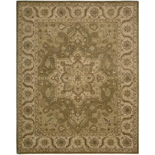 Nourison Hand-tufted Caspian Olive Floral Wool Rug (5' x 8')