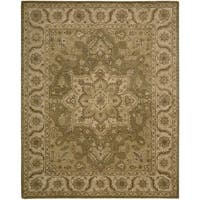 Nourison Hand-tufted Caspian Olive Floral Wool Rug (5' x 8') - 5' x 8'