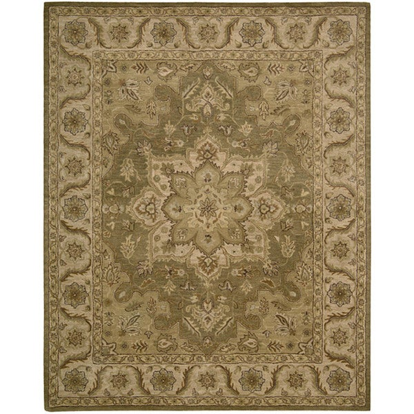 Shop Nourison Hand Tufted Caspian Olive Floral Wool Rug