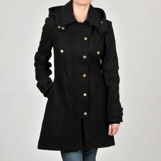 Betsey Johnson  Black Wool-blend Hooded Coat