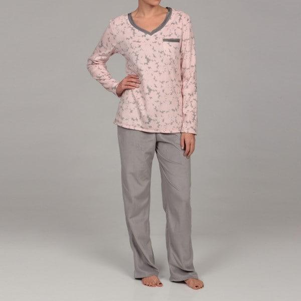 Anne Klein Women's Fleece Long-sleeve Sleepwear Set