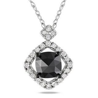Miadora 10k White Gold 1ct TDW Black and White Diamond Halo Necklace (G-H, I2-I3)