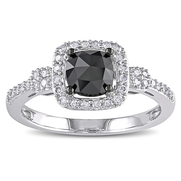 Miadora 14k White Gold 1ct TDW Cushion-cut Black and White Diamond Halo Engagement Ring
