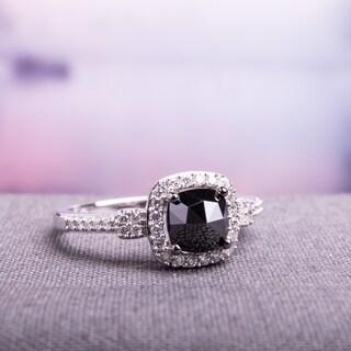 Miadora 14k White Gold 1ct TDW Cushion-cut Black and White Diamond Halo Engagement Ring