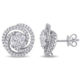 Miadora 14k White Gold 1 1/2ct TDW Diamond Stud Earrings