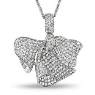 Miadora Signature Collection 18k White Gold 3 1/3ct TDW Diamond 'Bow' Necklace (G-H, SI1-SI2)