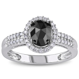 Miadora 14k White Gold 1ct TDW Oval Black and White Diamond Halo Engagement Ring