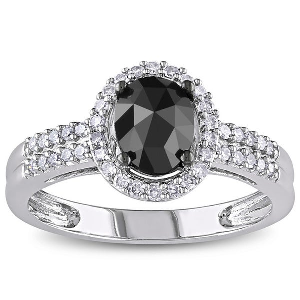 Miadora 14k White Gold 1ct TDW Oval Black and White Diamond Halo Engagement Ring