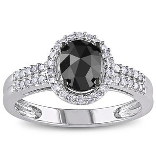 Miadora 14k White Gold 1ct TDW Black and White Oval-Cut Diamond Halo Engagement Ring