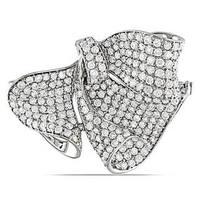 Miadora Signature Collection 18k White Gold 3 1/8ct TDW Diamond Bow Brooch