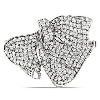 Miadora Signature Collection 18k White Gold 3 1/8ct TDW Diamond Bow Brooch