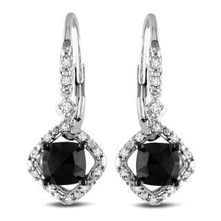 Miadora 10k White Gold 1ct TDW Black and White Diamond Halo Earrings