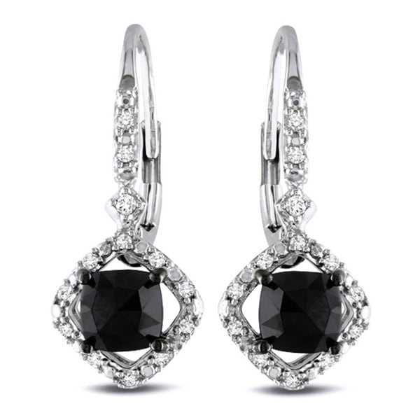 Miadora 10k White Gold 1ct TDW Black and White Diamond Halo Earrings