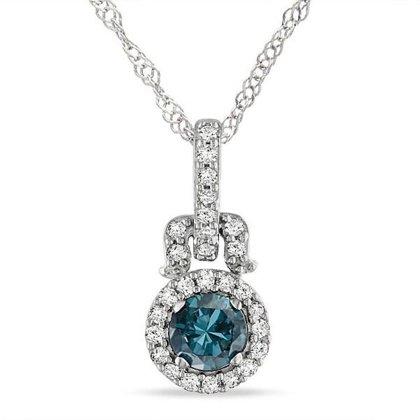 Miadora 14k White Gold 1/4ct TDW Blue and White Diamond Halo Necklace