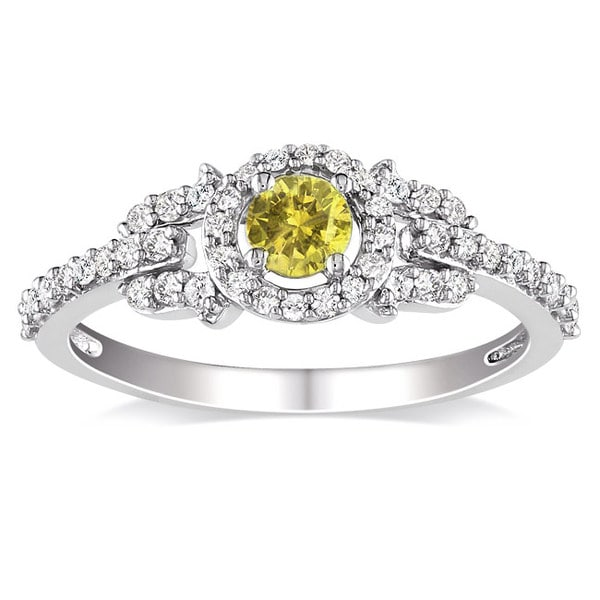 Miadora 14k Gold 1/2ct TDW Yellow and White Diamond Ring