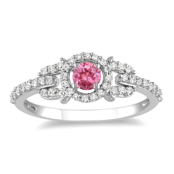 Miadora 14k Gold 1ct TDW Pink and White Diamond Halo Ring
