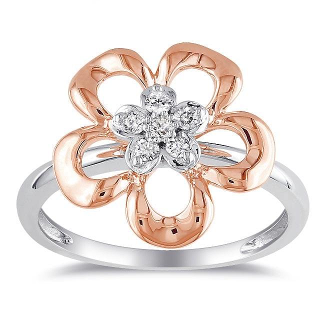 10k Gold 1/10ct TDW White Diamond Flower Ring