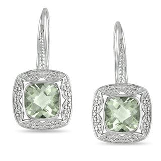 Miadora Sterling Silver Green Amethyst and 1/10ct TDW Diamond Earrings (G-H)