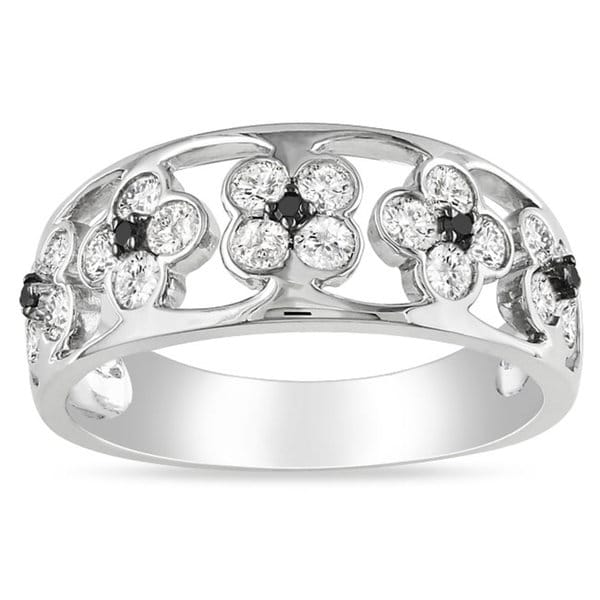 Miadora Signature Collection 14k White Gold 4/5ct TDW Black and White Diamond Floral Band