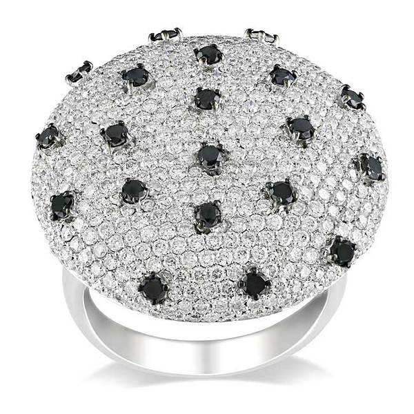 Miadora Signature Collection 18k White Gold 4ct TDW Black and White Diamond Cocktail Ring (G-H, SI)