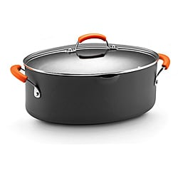 Rachael Ray Hard-anodized II Nonstick 8-quart Grey with Orange Handles Covered Oval Pasta Pot with Pour Spout