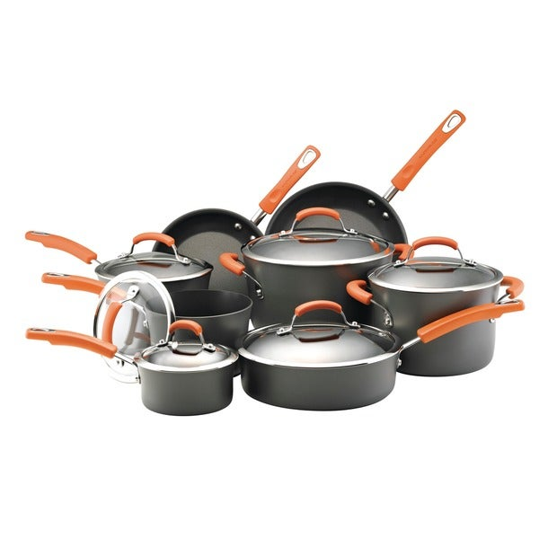 Rachael Ray Hard-anodized Nonstick 14-piece Cookware Set with Orange Handles