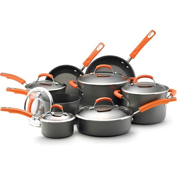 Rachael Ray Hard-anodized Nonstick 14-piece Grey with Orange Handles Cookware Set