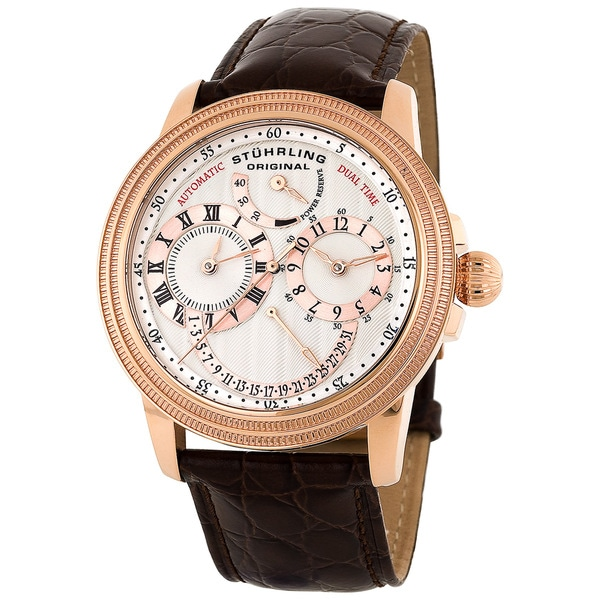 Stuhrling Original Men's Rosetone Saturnalia DT Automatic Watch