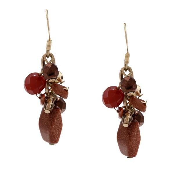 Alexa Starr Goldtone Goldstone Cluster Earrings