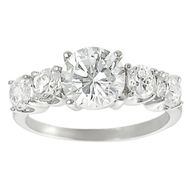 Journee Collection  Sterling Silver Round-cut Basket-set Cubic Zirconia Ring