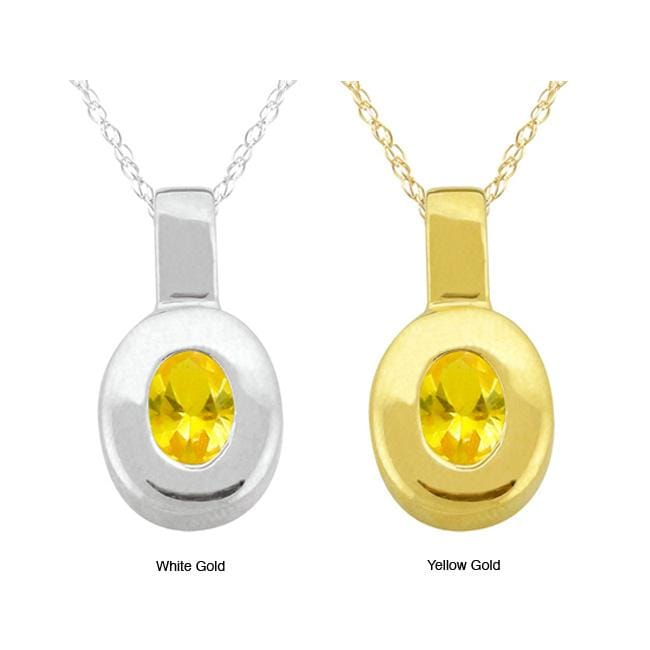 10k Gold 'Crystal' Synthetic Topaz Contemporary Oval Necklace