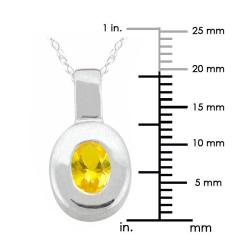 10k Gold 'Crystal' Synthetic Topaz Contemporary Oval Necklace - Thumbnail 2