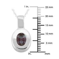 10k Gold Created Alexandrite Contemporary Oval Necklace - Thumbnail 2