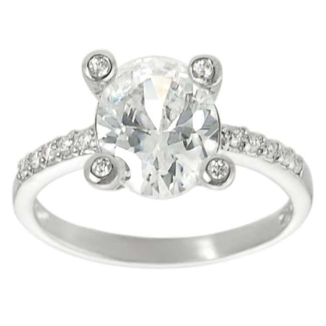 Journee Collection  Sterling Silver Oval-cut Cubic Zirconia Ring