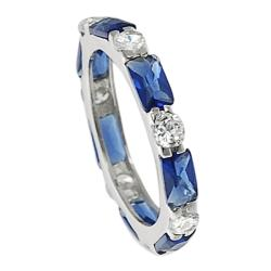 Journee Collection  Sterling Silver Blue and White Cubic Zirconia Ring
