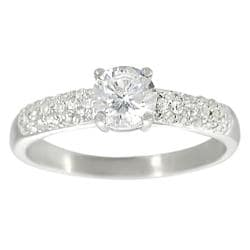 Journee Collection Sterling Silver White Round-cut Cubic Zirconia Ring