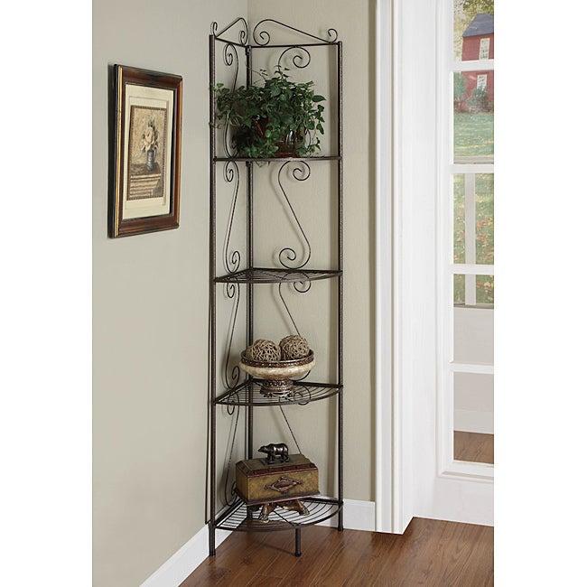 Copper Metal Corner Shelf System