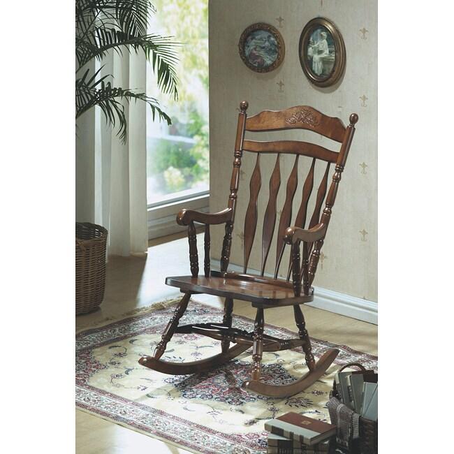 Dark Walnut Embossed Rock Chair