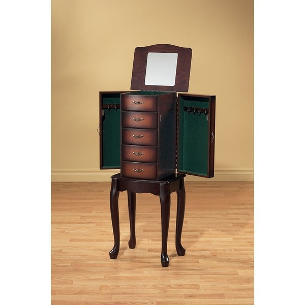 Mahogany Jewelry Armoire with Storage