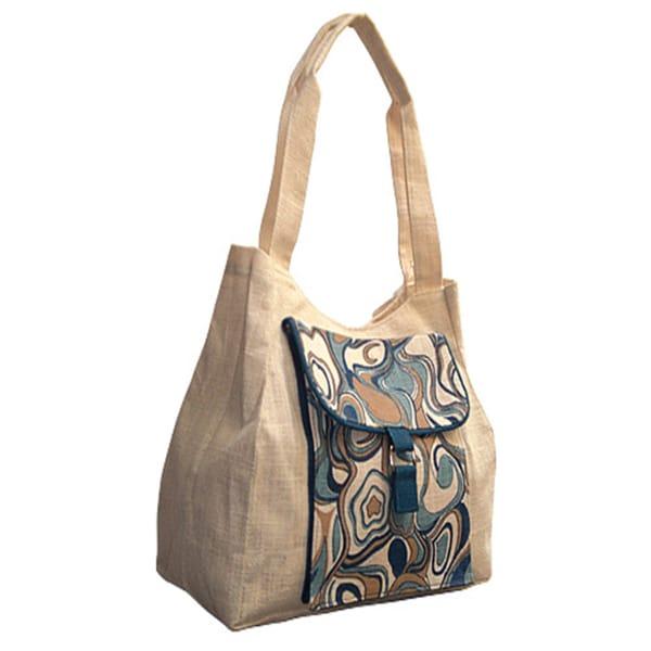 Aquarelle Jute Abstract Print Tote Bag