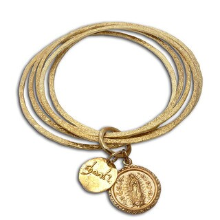 Recycled Brass Virgin of Guadalupe and Bangle Bracelet