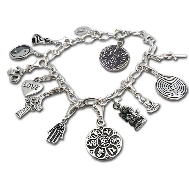 handmade sterling silver karma charm bracelet