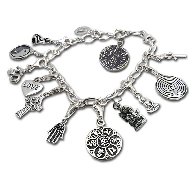 Handmade Sterling Silver Good Karma Charm Bracelet ...