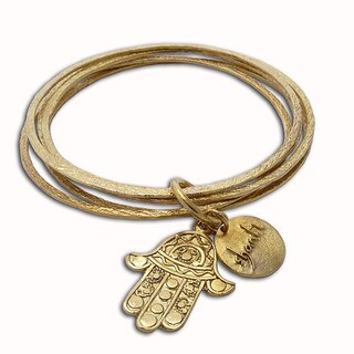 Handmade Recycled Brass Fatima Hand Bangle Bracelet (Indonesia)