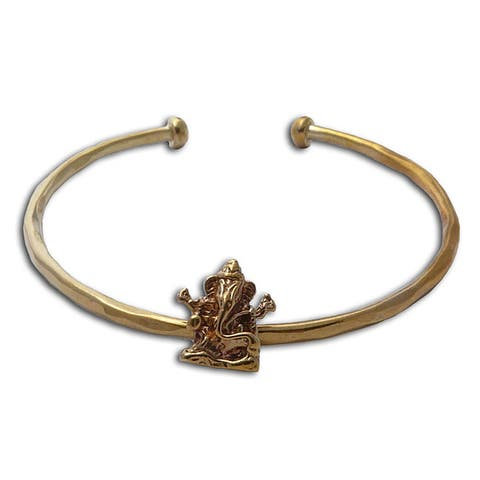 Handmade Recycled Brass Ganesh Statue Cuff Bracelet (Indonesia)