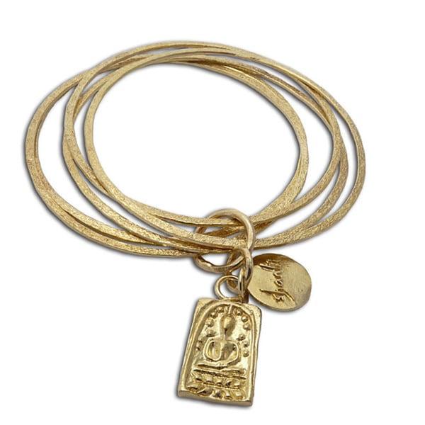 Handmade Recylced Brass Buddha and Shanti Bangle Bracelet (Indonesia)