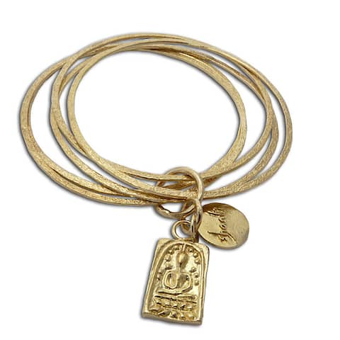Handmade Recylced Brass Buddha and Shanti Bangle Bracelet (Indonesia)