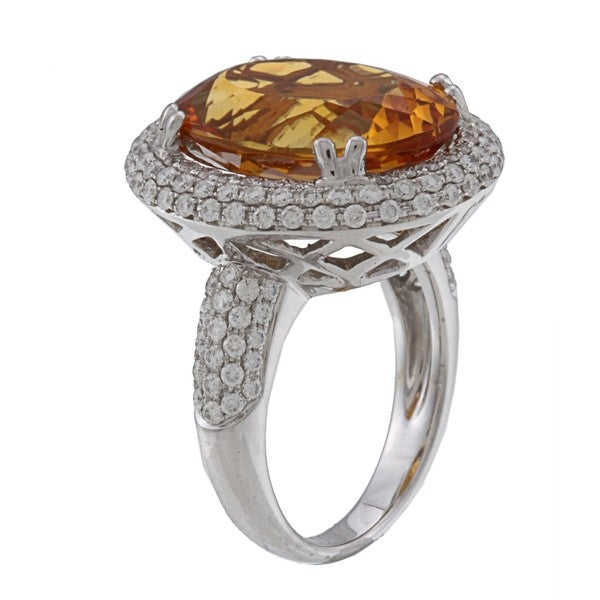 Kabella 18k White Gold Citrine and 1 3/8ct TDW Diamond Ring (H-I, SI1-SI2)