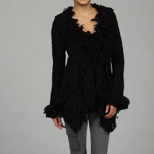 Miss Finch Women's Black Ruffle Cardigan
